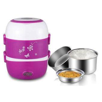 2.0Litre 3 layer Multi Functional Rice Cooker/Steamer (Purple) FREE Universal Adapter - 3