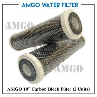 "AMGO 10"" Carbon Block Filter(2 unit),Water Filter,CTO ReplacementFor Single Stage Filtration,Double Filter Ceramic Housing"