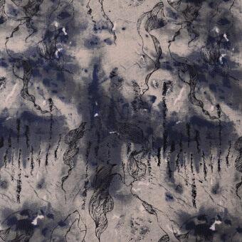 Beautiful ink Lotus curtain fabric cotton Linen Fabric