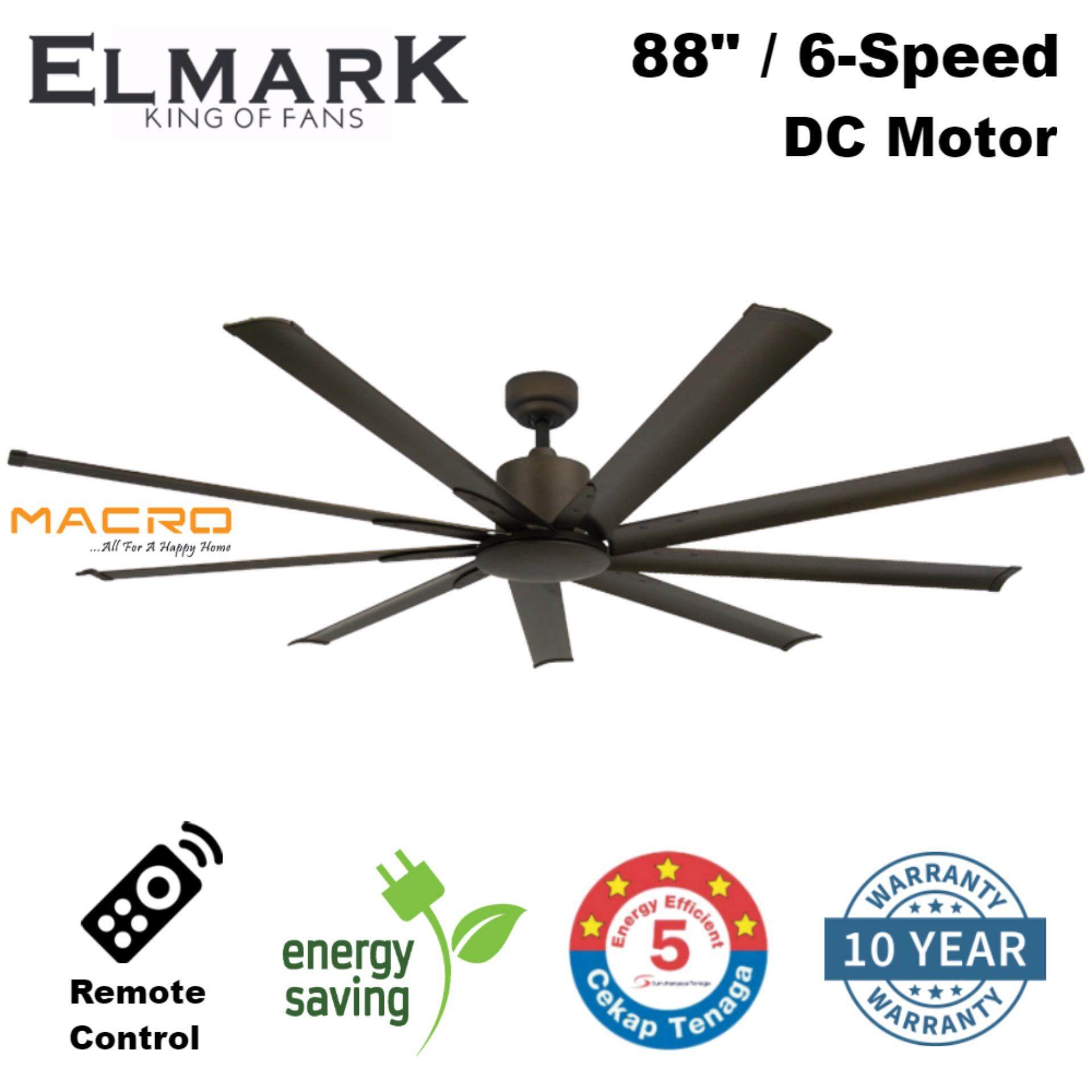 Elmark 9he88 88 Inch 9 Blade Remote Ceiling Fan Dc Motor Rusty Brown Malaysia