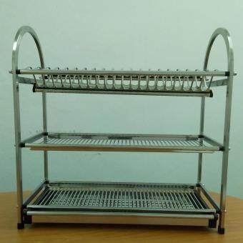 Home99 High Quality Stainless Steel Dish Rack 3 Tiers