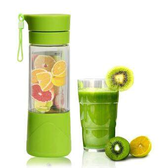 Harga Loveu USB Juicer Cup, Fruit Mixing Machine, Portable Personal Size Eletric Rechargeable Mixer, Blender, Water Bottle 380ml with USB Charger Cable Portable Juice Blender and Mixer - Green