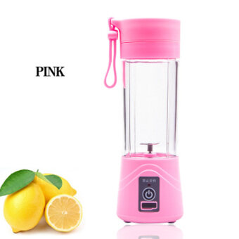 Harga LCFU764 Mini Rechargeable Portable Electric Fruit Juicer Cup Personal Sports Juice Blender with USB Charging Cable-pink