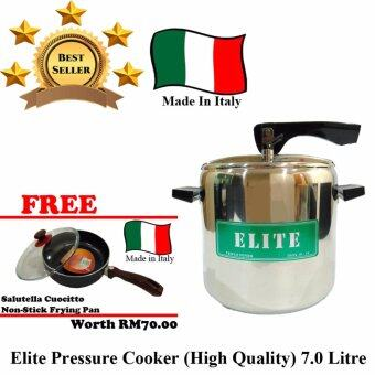 Harga Elite Pressure Cooker (High Quality) 7 Litre [Made In Italy] [FREE ITALY 25CM FRYING PAN]