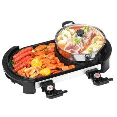 Inmazing Revolution Dual Controller 2 In 1 Korean Bbq Teppanyaki Electronic Grill Pan With Steamboat Shabu