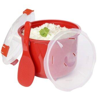 Microwave Rice Cooker Steamer with Spoon & Lid Lock BPA