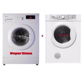 Midea 8.0kg Front Loading Washer Machine MFL80-ES1200 (1200rpm) + Haier HDY-D60 Sensor Vented Tumble Dryer (6kg)