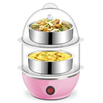 Multi-Function 2-Layer Electric Food and Egg Cooker/ Boilers & Steamer (Pink)