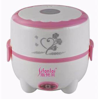 Harga Multifunctional Stainless Steel Electric Mini Rice Cooker Lunch Box(Pink)