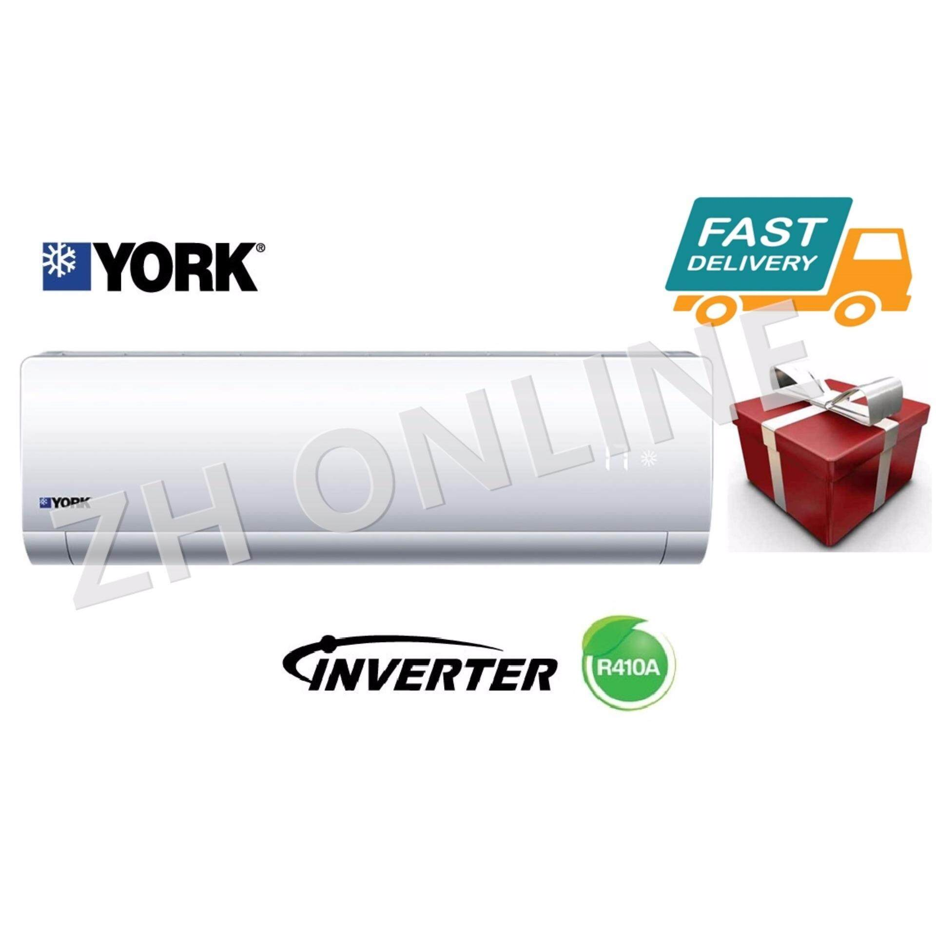 York 1.0hp Premium Inverter Air Cond YWM5J10AAS & YSL5J10AAS @With FreeGift image on snachetto.com