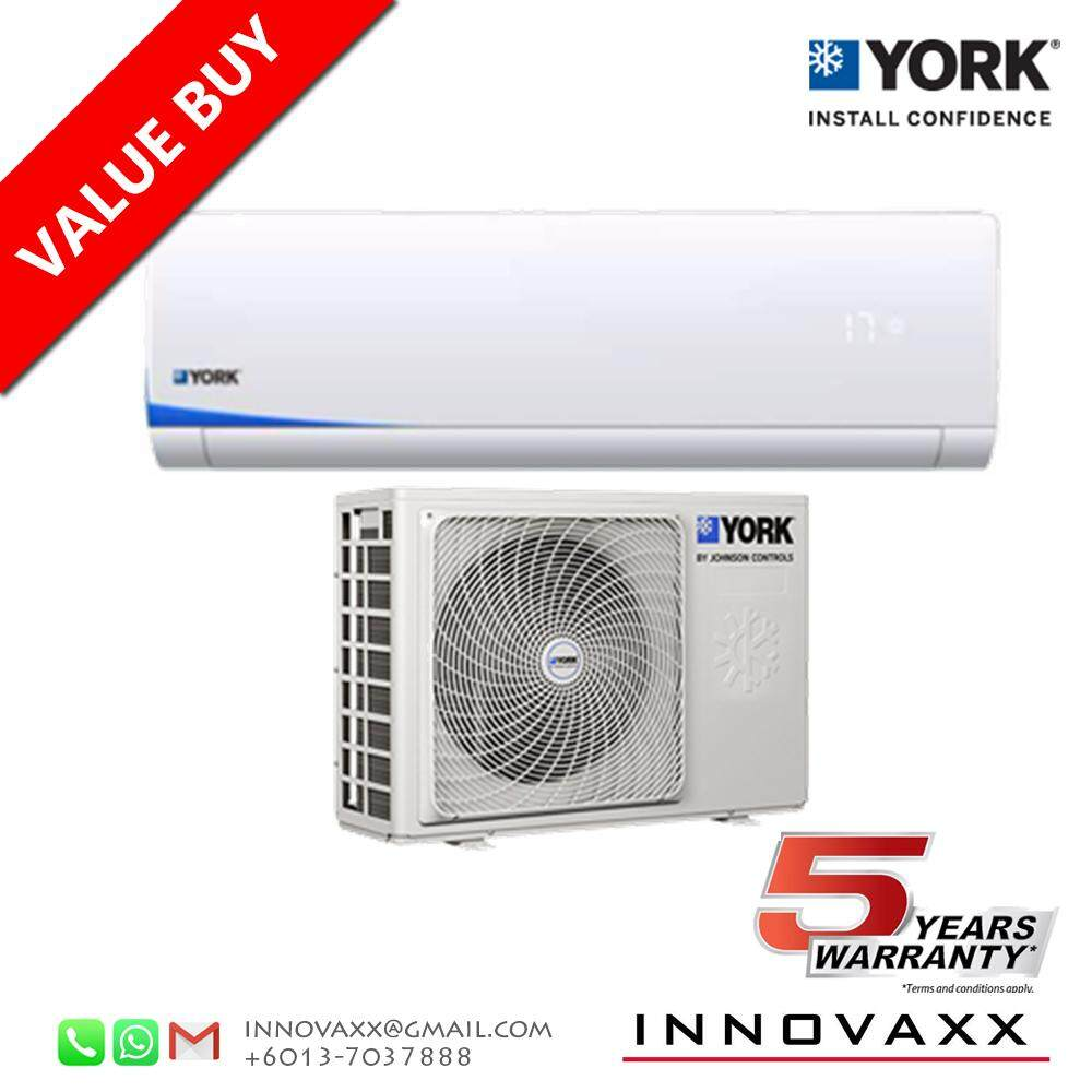 YORK 1.0HP YWM3F10CAS-W / YSL3F10AAS Aircond Air Conditioner (R410A) image on snachetto.com