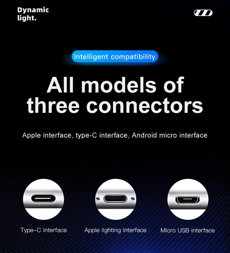 Sạc Điện Thoại Di Động Cable USB Loại C Dòng Sáng Dữ Liệu Dây Cho Samsung Huawei LED Micro Kable Apple Dòng Sạc Nhanh 19