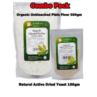 1 x Organic Unbleached Plain Flour (High Protein) 500gm + 1 XNatural active Dried yeast 100gm (Combo pack)