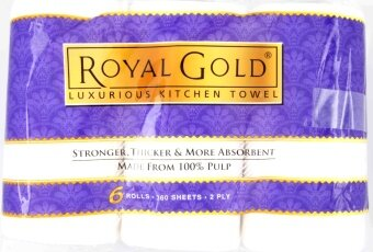 Harga Royal Gold 2 Ply Luxurious Kitchen Towel 6 Rolls 360 Sheets