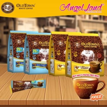 Harga OldTown White Coffee 3 in 1 Instant Premix White Coffee x2PacksLess Sugar + x2Packs Coffee & Creamer + Free Coffee Mug