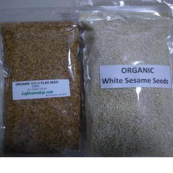 Organic Gold Flax Seeds 250 grams + Organic White Sesame Seeds 500 grams