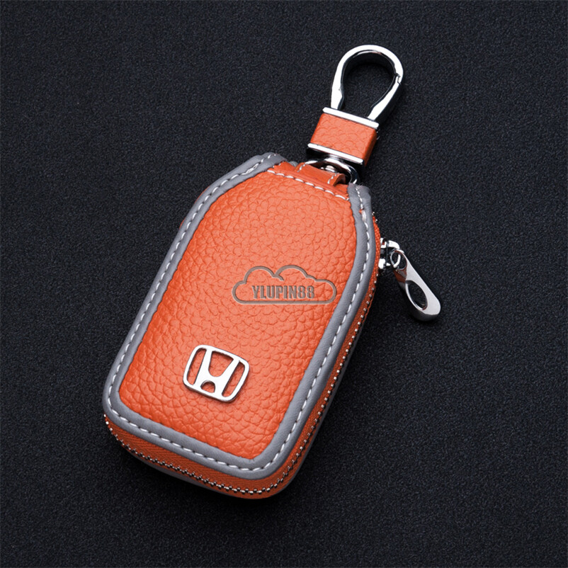 Car Genuine Leather Key Case Holder Auto Keychain Protector Pouch with Zipper