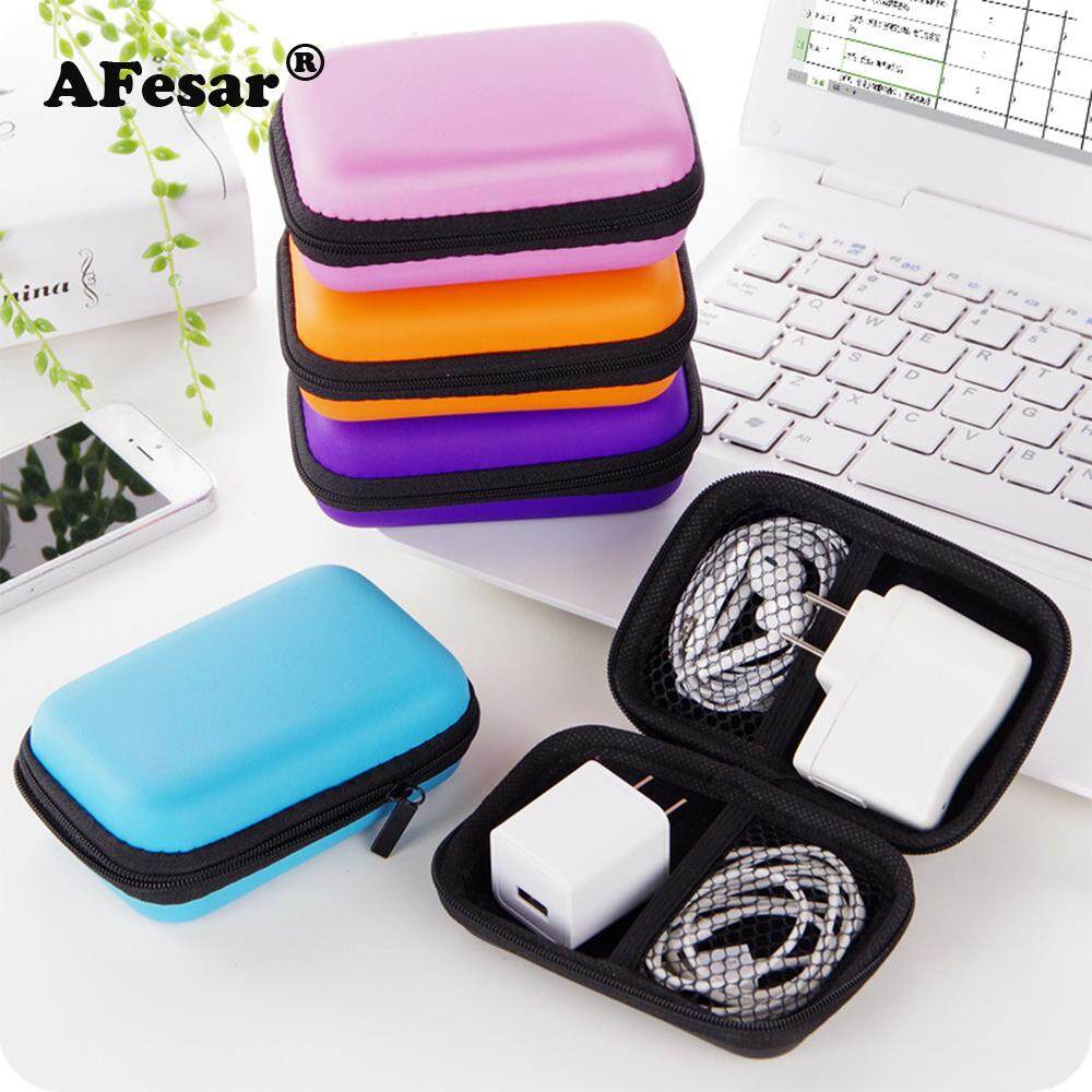 Protable Carrying Case Headset Earphone Headphone Cable Card Storage Bag Box