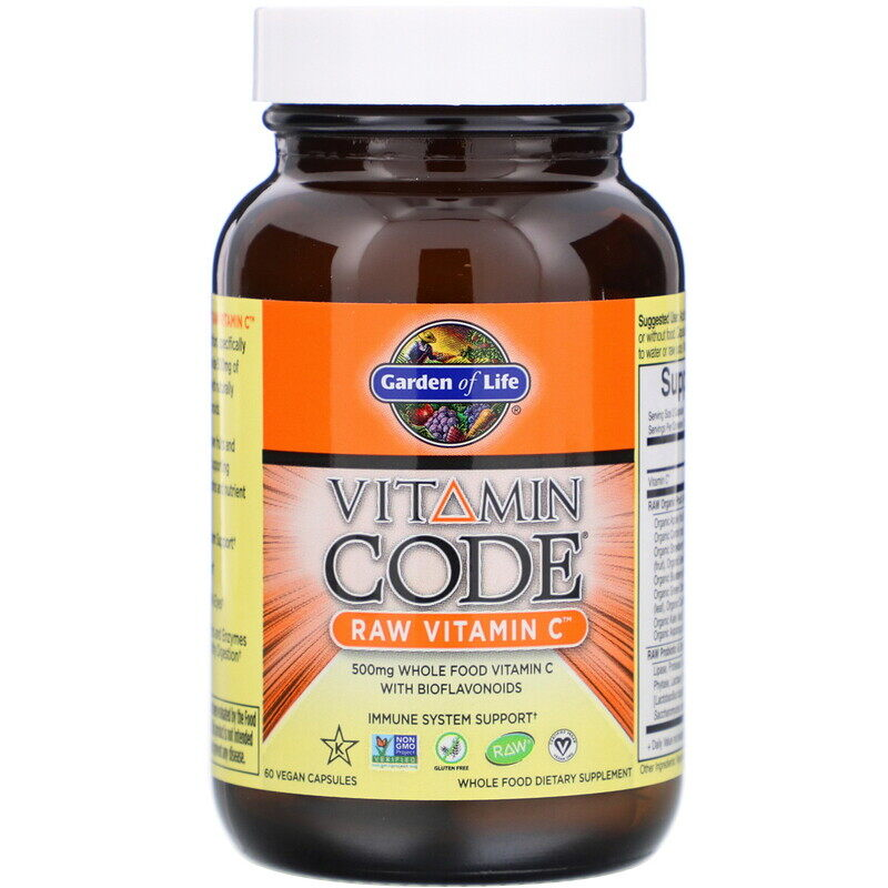 Garden of Life, Vitamin Code, Raw Vitamin C, 60 Veg Caps 维生素C