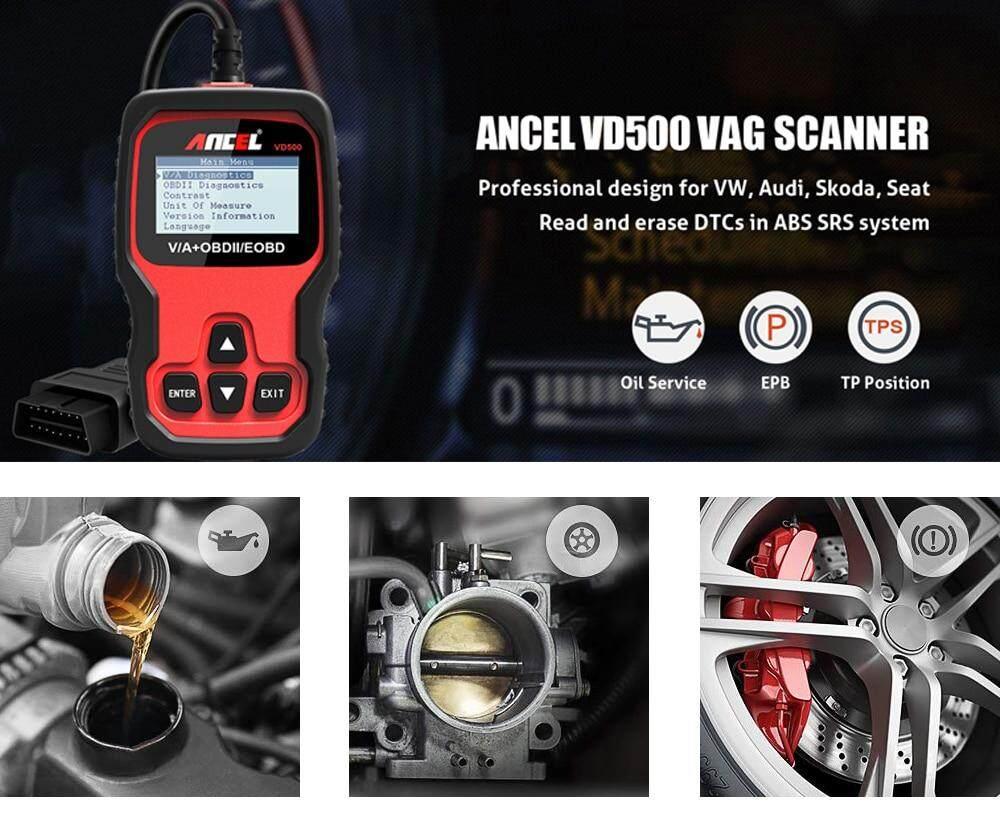Ancel VD500 OBD2 Scanner Car Diagnostic Tool for VAG VW Audi Skoda Seat Oil  Service Reset EPB Brake TP Check Clear DTC ABS SRS