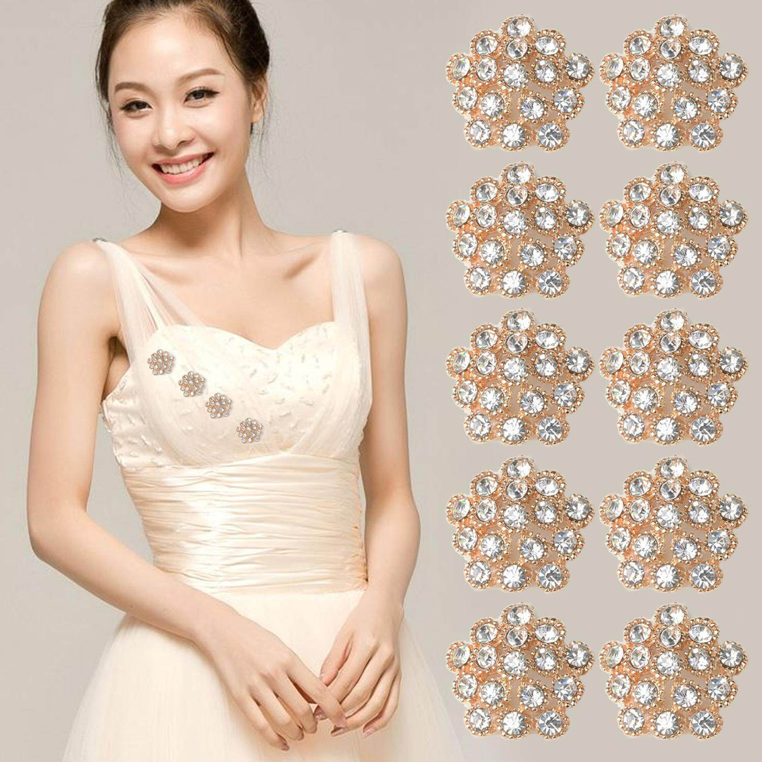 10Pcs Embellishments Rhinestone Faux Pearl Flowers for Craft Wedding Decorations