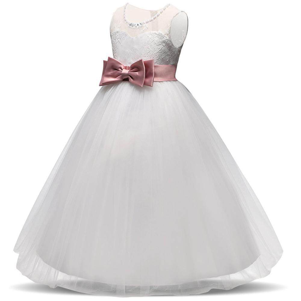 003a5ba8e986f Easy Fun Girls Dress Summer Lace Bow Party Princess Dress Suitable for 5-14  Years Old Kids