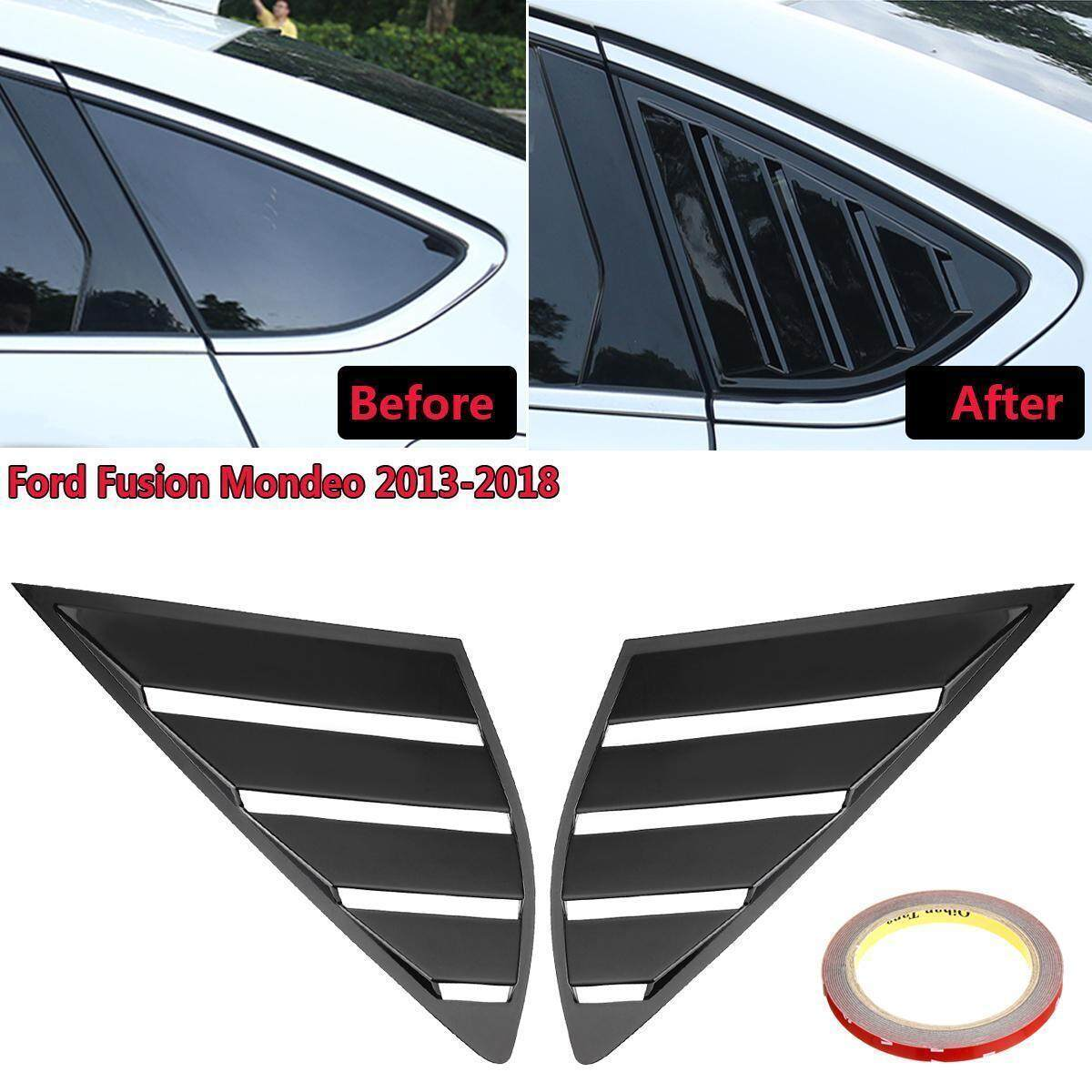 2xBlack Side Window 1//4 Scoop Louver Cover For Ford Fusion Mondeo 2013-2018 2016