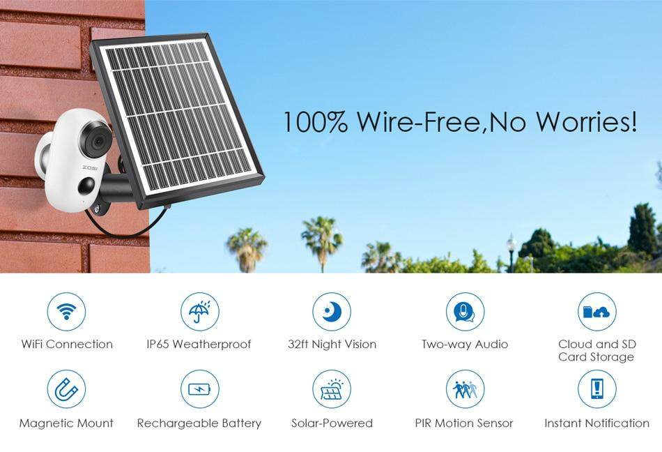 2.4Ghz WiFi Security Camera Outdoor Indoor,Rechargeable Battery Two Way Audio Cloud Storage and SD Card Storage ZOSI 1080p Wireless Battery Camera with Solar Panel PIR Motion Alerts,Night Vision
