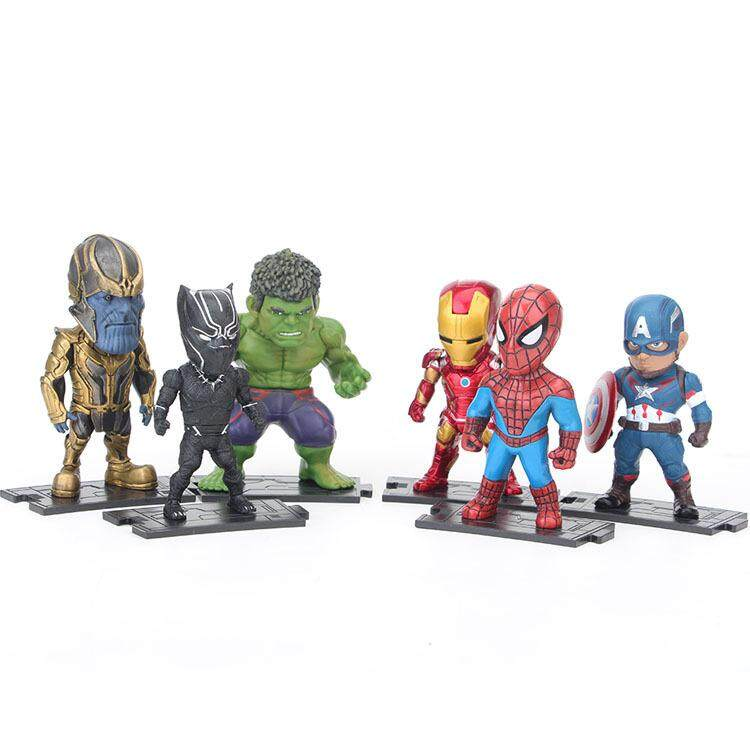 Anime Figure Iron Man Captain America Marvel Cute Kid Gift Toy Spider Man Thanos