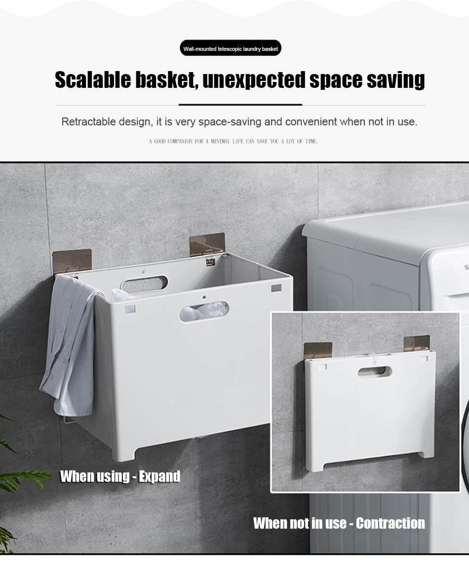 H Joy Wall Mounted Folding Laundry Basket Suction Cup Hanging Hamper Dirty Clothes Storage Basket Lazada Singapore