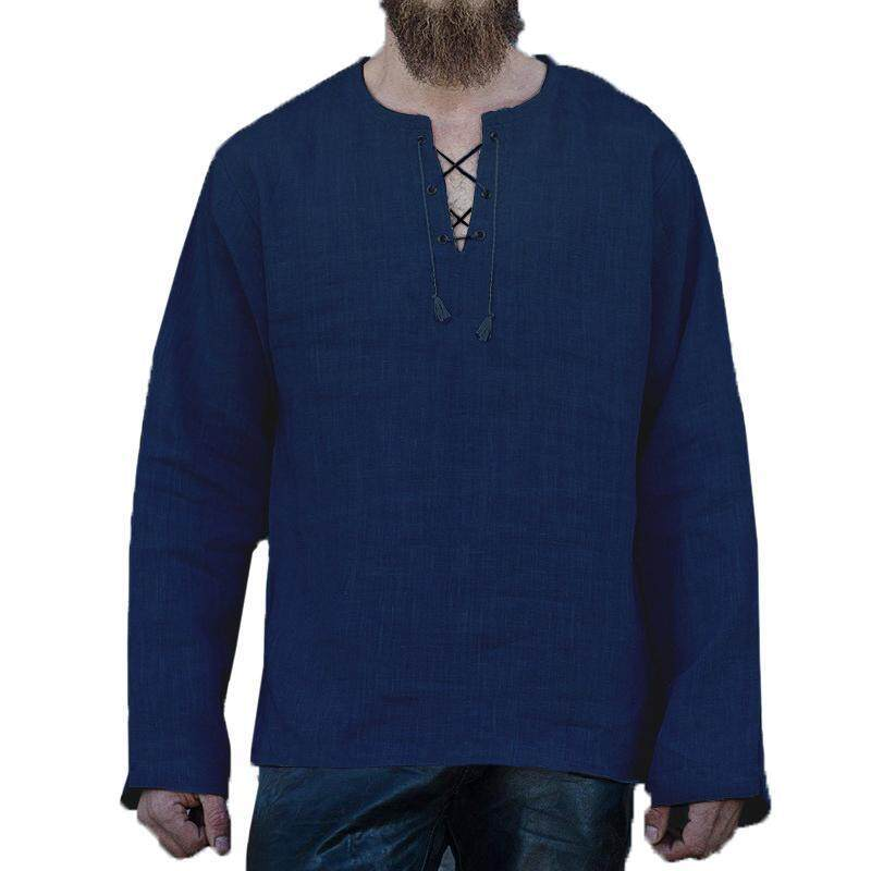2ac12637b98 Specifications of Men Tops Cotton Linen Long Sleeve Loose Casual Bandage V  Neck T-shirt Jumper