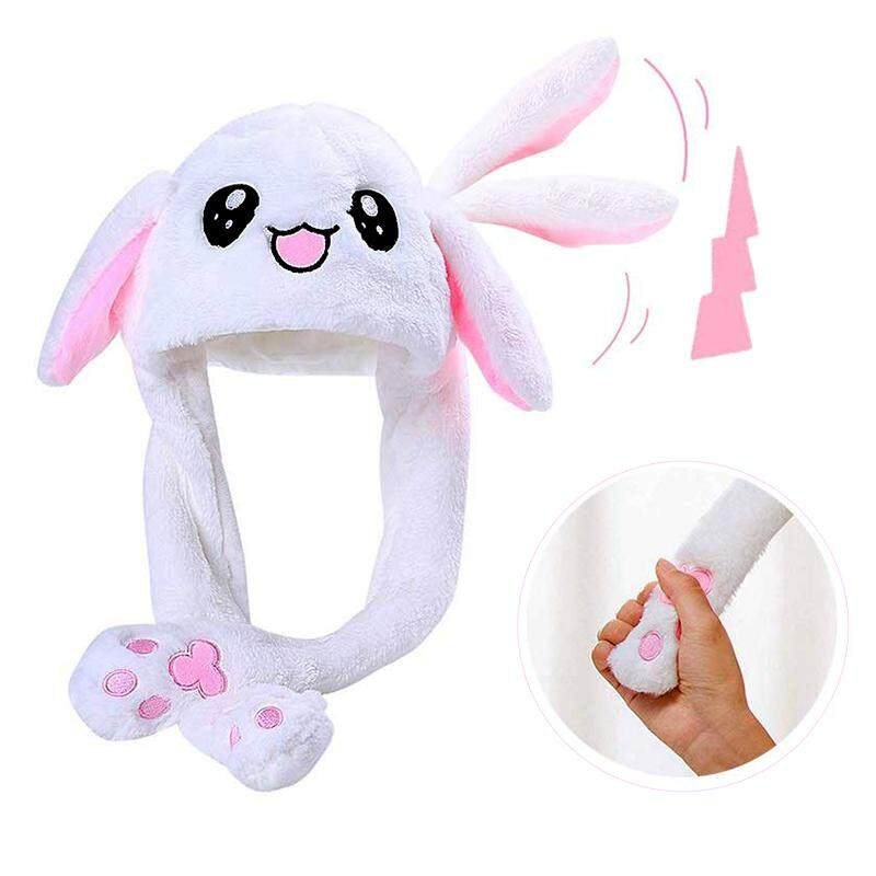 2019 Fashion Moving Hat Girls Animals Ear Moving Jumping Hats Rabbit Ears  Plush Sweet Cute Airbag Cap 10 Color Can  Choose
