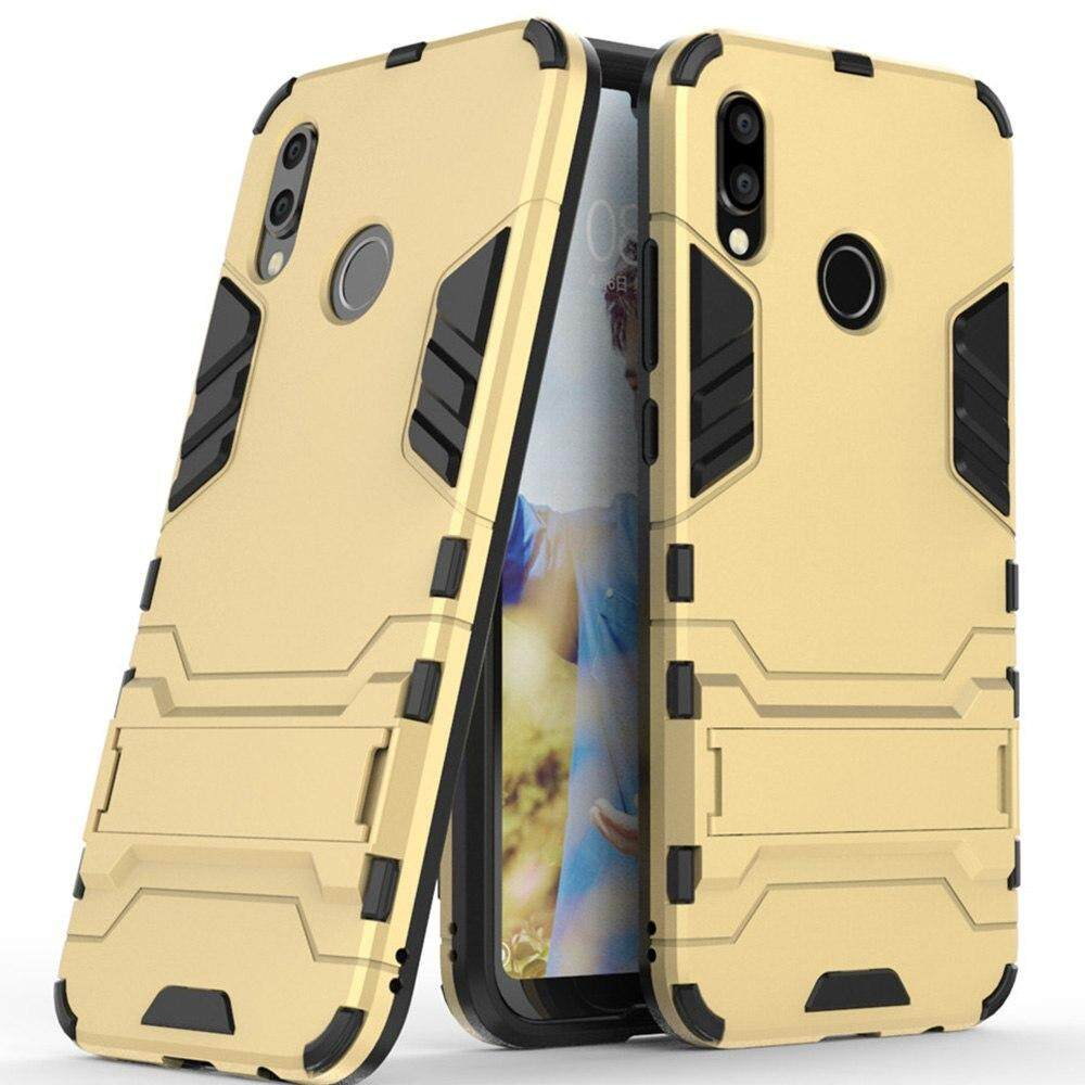 For Huawei Honor Play Case, Luxury Iron Man Stand Cover Hard Armor and Soft  Silicone TPU Frame Phone Casing
