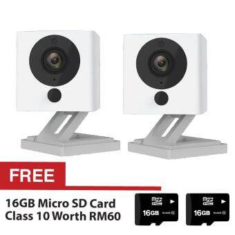 2 Sets Xiaomi Small Square Xiao Fang Yi CCTV MI IP Camera NightVision 1080P Full HD (White) + FREE 2 Sets Micro SD Card Class 1016GB