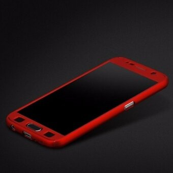 Harga 360 Degree Full Body Protection Cover Case With Tempered Glass for Samsung Galaxy J3 2016 (Red)