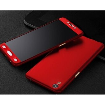 Harga 360 Degree Full Body Protection Cover Case With Tempered Glass forOppo A37 (Red)