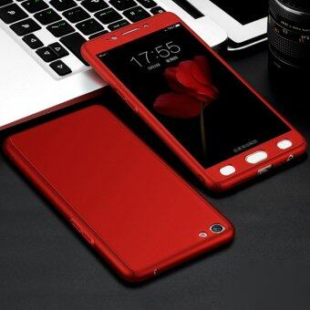360 Degree Full Body Protection Cover Case With Tempered Glass forOppo A57 (Red)