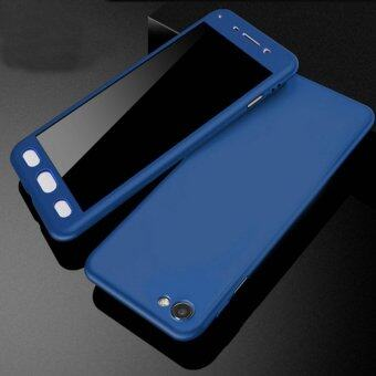 360 Degree Full Body Protection Cover Case With Tempered Glass forOppo R9S (Blue)