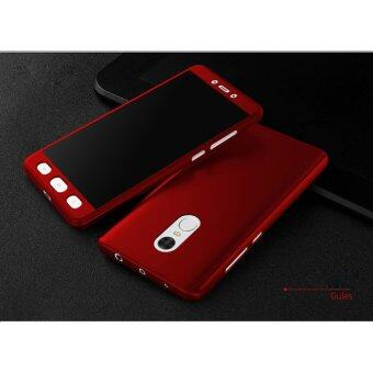 Harga 360 Degree Full Body Protection Cover Case With Tempered Glass forXiaomi Redmi Note4 (Red)