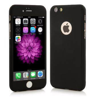 360 Degree Full Body Protection Cover Show Logo Case With Tempered Glass For iPhone 6/6S (Black)