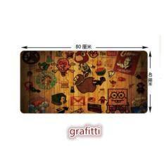 80CM X 40CM ULTRA LARGE ANTI-FLIP RUBBER SOFT TEXTILE MOUSE PAD (Grafitti) Malaysia