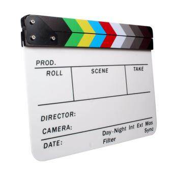 Acrylic Clapboard Dry Erase Director Film Movie Clapper Board Slate9.6 x 11.7 inch with Color Sticks - 4