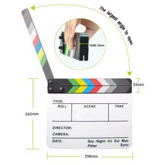 Acrylic Clapboard Dry Erase Director Film Movie Clapper Board Slate9.6 x 11.7 inch with Color Sticks - 3
