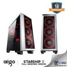 Aigo Starship 2 (White) Full Window (Casing + 3pcs Eclipse LED Fan - Optional Fan color) [ATX, Matx, Mini-ITX] Malaysia