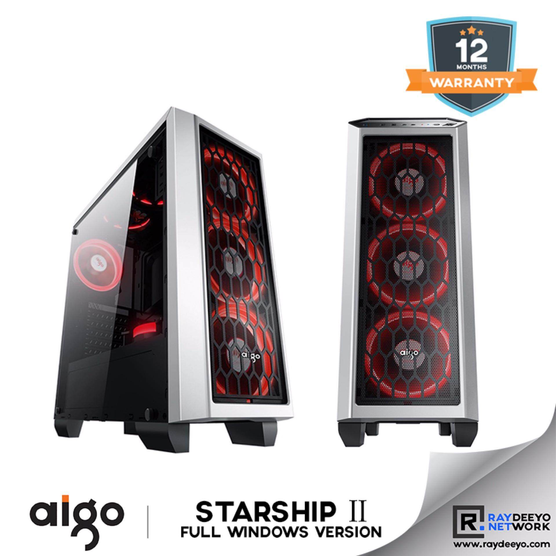 Aigo Starship 2 (White) Full Window (Casing + 3pcs Eclipse LED Fan - Optional Fan color) [ATX, Matx, Mini-ITX] Malaysia
