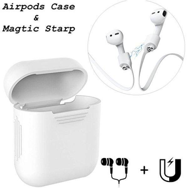 Airpods Skin. iAbler Magnetic Airpods Strap iPhone X / 8 / 7 / iPhone 7 Plus Sports Strap Wire Cable Connector and Silicone Charging Cover for Apple AirPod - White - intl