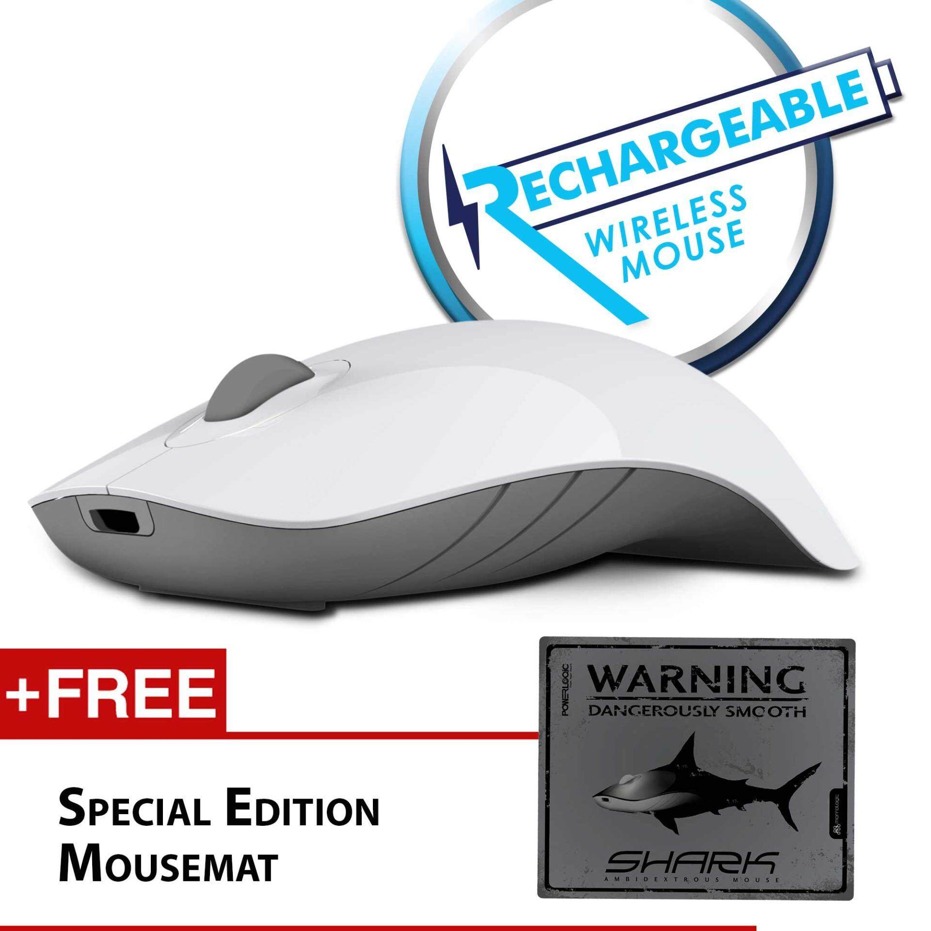 Alcatroz Air Shark 2.4G Rechargeable Wireless Mouse Free Mousemat (White/Grey) Malaysia