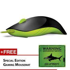 Alcatroz Shark USB Mouse Free Special Edition Mousemat (Black/Green) Malaysia