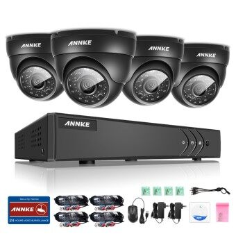 ANNKE 1 MP 720P 4 Dome Cameras NO HDD CCTV DVR Kits Security System-Indoor Outdoor Night Vision Desktop & App Remote Monitoring Motion Detect Alert