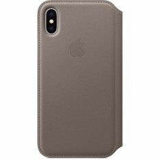 Apple iPhone X Leather Folio Taupe Image